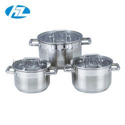Ustensiles de cuisine en acier inoxydable Marmite Set avec couvercle en verre plat