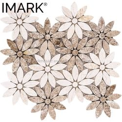 Luz Emperador misturados Giallo Atlantide mosaicos de mármore de padrão de Flores quebra-cabeças