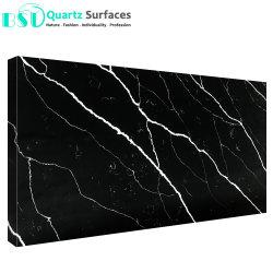 Schwarze Karosserien-künstlicher Quarz-Stein mit weißen Adern