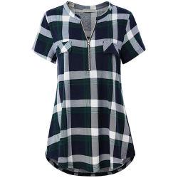 De la mujer fuera Casual cremallera Plaid Short-Sleeved Blusa con cuello en V