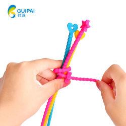 Groothandel gedrukte Logo Twist Lock siliconen rubberen kabelbinders