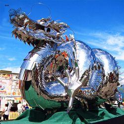 Grande scultura moderna Sssm-22 del drago dell'acciaio inossidabile della decorazione della statua del giardino