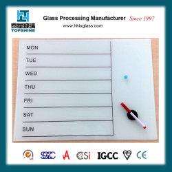 Placa de escrita de vidro branco Placa de escrita de vidro temperado