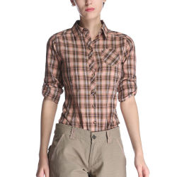 オフィスは女性のための綿ワイシャツの小切手プリントワイシャツを身に着けている
