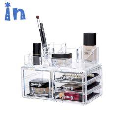 Jóias de acrílico e cosméticos gavetas de armazenamento Exibir Espelho Caixas do organizador com 11 gavetas,