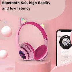 L'oreille de chat rose Casque Bluetooth stéréo avec micro casque de jeu de lumière à LED de vibrations