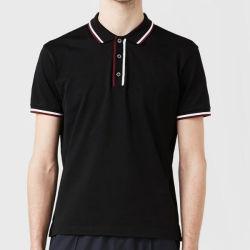 卸し売り人のカスタムロゴのブランクの綿速く乾燥した適合の黒はポロシャツを遊ばす
