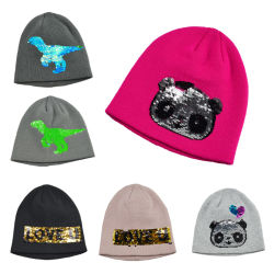 BSCI Fashion paillettes d'enfants tricoté en acrylique Beanie Hat d'hiver