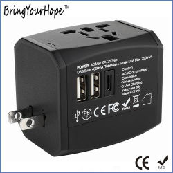 Type-C uitgang 3 USB-oplader Multi-Plug reisadapter (XH-UC-064T)