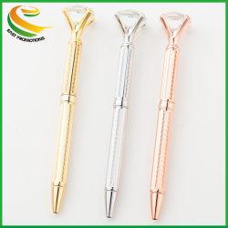 Big carat de diamant stylo Stylo à bille Cristal Bijou Bague Bureau Mariage anneau en métal balle de rouleau