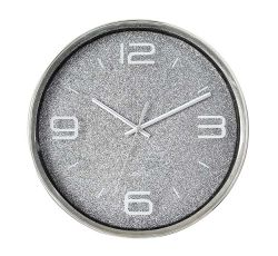 """16"""" раунда игристое серый пластиковый Европы 3 с левой Quartz Настенные часы"""