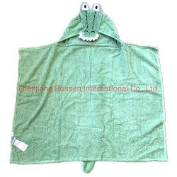 Diseño personalizado de OEM de cocodrilo bordado de algodón con capucha bebé dinosaurio Manta de baño Toalla