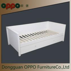 Matelas de cadre de lit en bois Fondation avec rail de protection de Construction robuste blanc