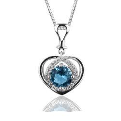 Сердце очарование Подвесная модель синий сапфир кубических обедненной смеси 925 серебристые пульта управления