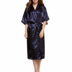 Elegante roupa de dormir manto de cetim Sleepwear Longa Noite vestido bata vestido com cinto de pijama de seda