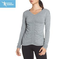 Мода на крышах Ruched реверсивного Йога в рубчик по кривой V-образный вырез горловины Tee футболки для женщин