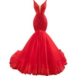 슬리브리스 프롬파티 는 레드 베딩 이브닝 드레스 Z5013