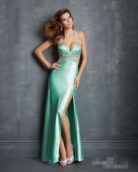 Halter partie prom robes de cocktail robes de soirée bijoux de luxe de bijoux sexy robes demoiselle d'honneur Vestidos Split Backless satin
