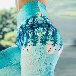 Neues schnelles trocknendes blaues Pflanzendigital-Drucken-Yoga keucht die Übungs-Hosen, die Gamaschen-Frauen laufen lassen