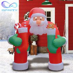 Адаптированные для использования вне помещений Рождество светодиодные индикаторы Натале каркасных надувных судов Санта-Клаус надувные реклама рождественские украшения во дворе
