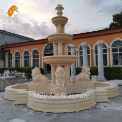 Piscina de pedras naturais de água em mármore amarelo de pedra mármore Escultura Lion Trevi