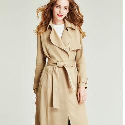 La Tranchée de coupe 3D Enduire Women's Long de la dentelle-jusqu'à l'Ourlet ouvert au printemps et automne manteau de la fourche, le tempérament de l'usure trench-coat
