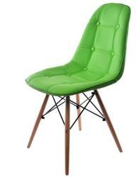 Cuir synthétique chaise de salle à manger avec jambe de bois