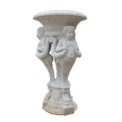 Piscina em pedra mármore branco pote de flores e Plantadeira