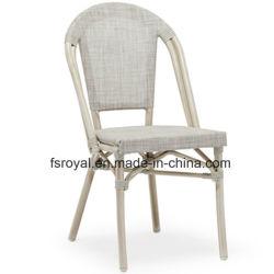 Aluminiumrahmen-Polyester-Ineinander greifen-Gewebe-Bambusblick, der Stuhl-im Freiengaststätte-Möbel speist