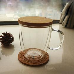 Taza de Té de vidrio de doble pared de vidrio con Asa (resistente al calor)