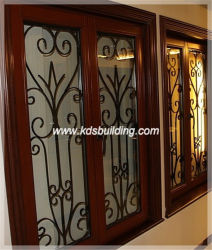二重ガラスをはめられたWindowsの木の開き窓のフランスのグリルデザイン木Windows