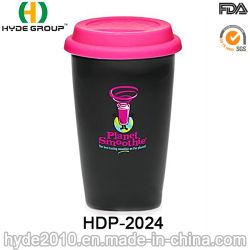 De gros de tasse de café en plastique à double paroi avec couvercle (HDP-2024)