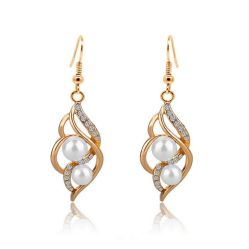Conjuntos simulados de la joyería de la boda de la perla para los collares cristalinos nupciales de la declaración de los pendientes del color del oro de las mujeres
