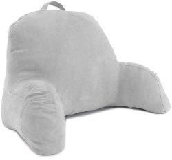 Gray Microsuède Repos au lit - Coussin de dossier avec des armes - La lecture de l'alitement chaise Longue - Assis oreiller de soutien - Soft mais coussin Firmly-Bed reste l'oreiller