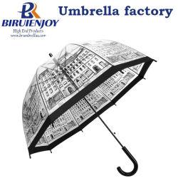 Forma de Cúpula transparente Sun/Globo transparente de chuva guarda reta para mulheres e crianças