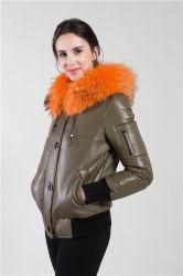 Indumento di cuoio con il collare della pelliccia del Raccoon (breve)