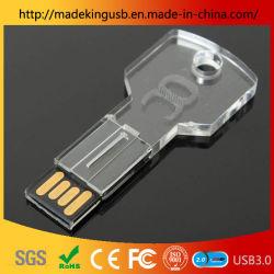 Gravação interna a moda do logotipo Chave Crystal disco U com LED 16GB/64GB Pen Unidade Flash USB