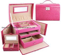 Trois couches de cuir rose vinaigrette de maquillage Bijoux cas