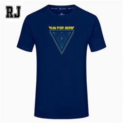 OEM/ODM Camiseta azul oscuro en blanco al por mayor 100% algodón bordado impreso el logotipo personalizado Camiseta Hombres camiseta superior prendas de vestir