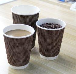 Пульсация пищевых сортов кофе на стене бумаги чашку горячего кофе печати логотип бумаги