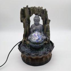 Поверхность стола Будды Polyresin фонтан с светодиодный индикатор для использования внутри помещений оформление