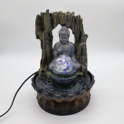 LED 가벼운 실내 훈장을%s 가진 Polyresin Buddha 탁상 샘