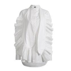 نساء 2020 فصل خريف جديد شخصية قميص عصريّ يبالغ [كريمبد] محراب أبيض وزرة