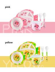 Красочные растительного масла печати бамбуковые волокна Cute розового цвета желтого цвета Finsh детей питьевой пить пластины кружки чашки посуда кухонных 5 ПК