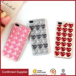 Cas mignons de téléphone cellulaire de Bling avec la configuration des Amour-Coeurs 3D