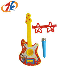 Fördernde Kind-Plastikgitarre mit Mikrofon und Glas-Spielzeug