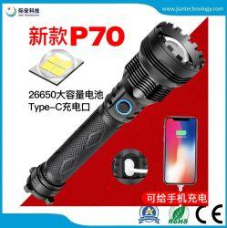 Xhp70 Amazon USB 충전 26650 Type-C 충전 강한 경량 알루미늄 손전등