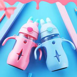 Оптовая торговля BPA бесплатно для кормления малыша стеклянная бутылка воды с PP крышка Non-Toxic силикон дети соломы стекло молоко расширительного бачка