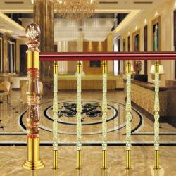 Aço inoxidável Luxury Villa Hotel Corrimão de escada de coluna de Cristal