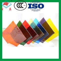 Feuille de gros fournisseur de la Chine de verre Le verre trempé Multi couleur laminé personnalisé Vitraux trempé de construction de flottement